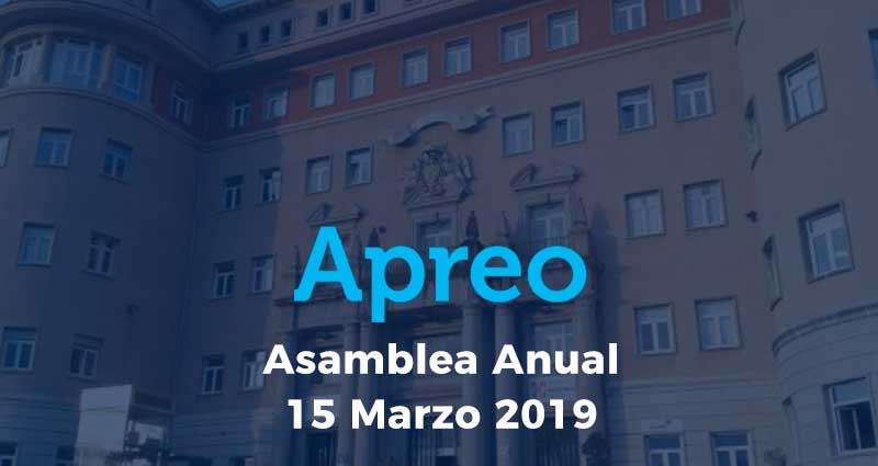 La Asamblea Anual de la Apreo se realizará el próximo 15 de Marzo de 2019